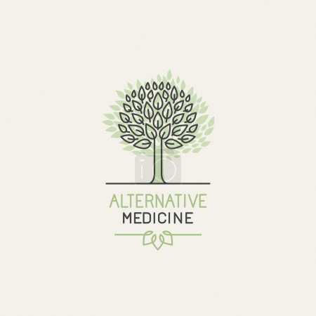 Illustration for Vector herbal and alternative medicine logo design template in trendy linear style - holistic therapy concept - growing tree illustration - Royalty Free Image