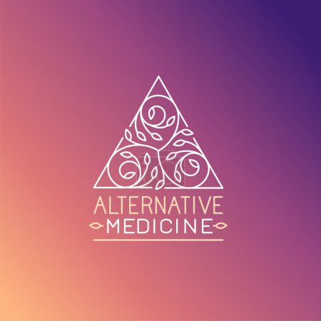 Illustration for Vector alternative medicine logo design template - wellness practice, yoga and herbal symbol in trendy linear style - Royalty Free Image