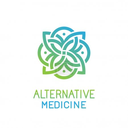 Illustration for Vector abstract logo design template for alternative medicine, health center and yoga studios - emblem made with leaves and lines - Royalty Free Image