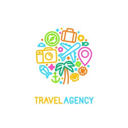 Illustration pour Vecteur de modèle de conception de logo dans un style linéaire branché avec des icônes - Agence emblème et tour des concepts guide de voyage - image libre de droit