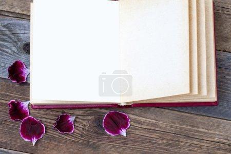 Open book with geranium petals