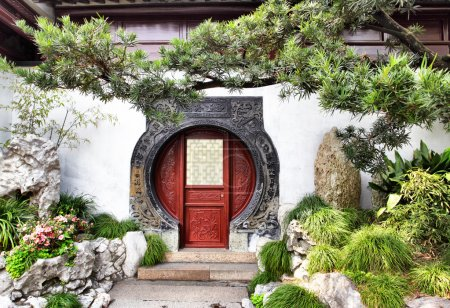 Photo for Round doorway in ancient Yu Yuan Garden in Shanghai, China - Royalty Free Image