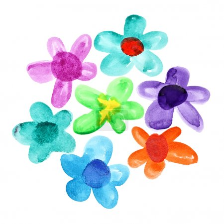 Bunch of watercolor flowers