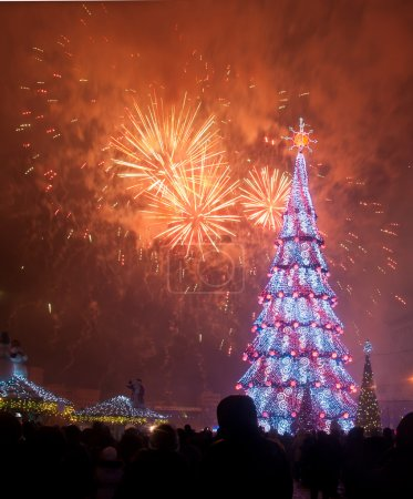 Christmas tree on a fireworks background in Kharko...
