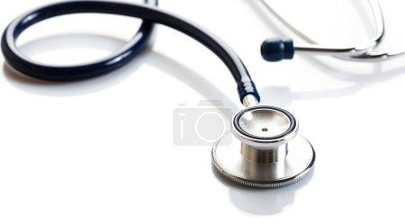 Photo for Medical stethoscope or phonendoscope on white table close-up - Royalty Free Image