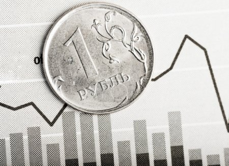 Photo for One ruble coin on black and white fluctuating graph close-up - Royalty Free Image