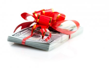 Christmas Bonus Stack of Cash With Red Bow