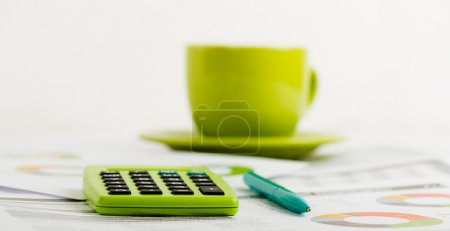 Business workplace with coffee cup