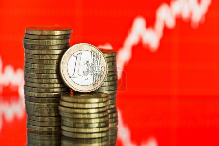 Euro coins and fluctuating graph