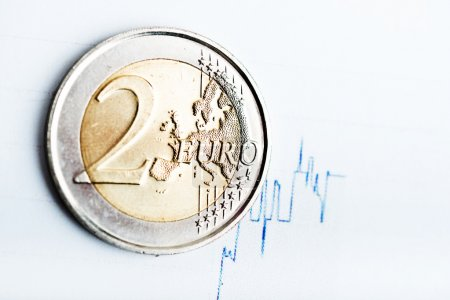 euro coin on fluctuating graph