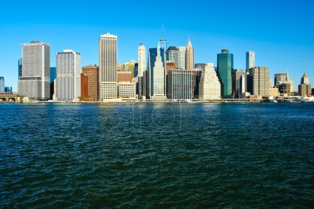 Photo for Lower Manhattan skyline view from Brooklyn in New York City - Royalty Free Image