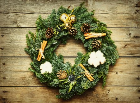 Photo for Decorated Christmas wreath on the rustic wooden background - Royalty Free Image