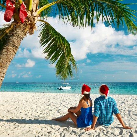 Couple on the beach at christmas
