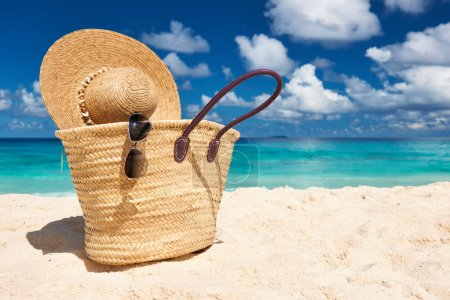 Beautiful beach with bag