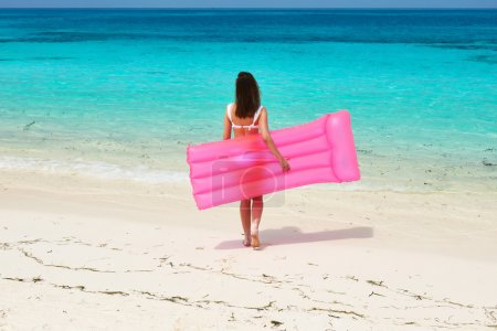 Woman with inflatable raft