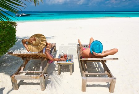 Couple on beach at Maldives