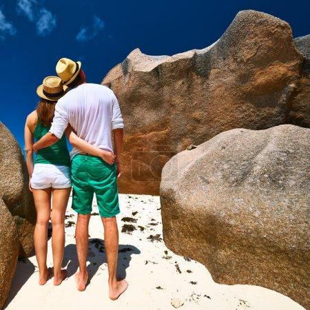 Couple on beach at Seychelles