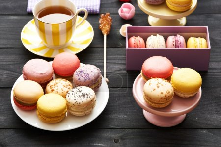 Photo for French delicious dessert macaroons on table - Royalty Free Image