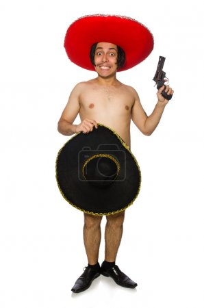 Naked mexican man isolated on white