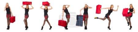 Photo pour Concept de vacances de voyage avec bagages sur blanc - image libre de droit