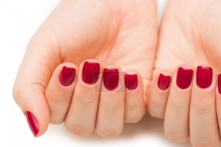 Photo for Woman hands with red nail isolated on white - Royalty Free Image
