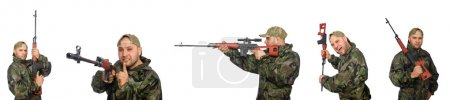 Soldier with sniper rifle isolated on white