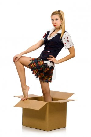 Woman with cardboard box isolated on white...