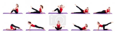 Photo for Young female doing exercises on white - Royalty Free Image