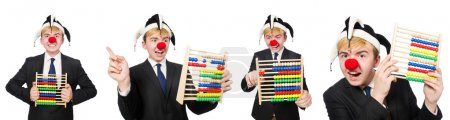 Photo pour Clown avec abaque isolé sur blanc - image libre de droit