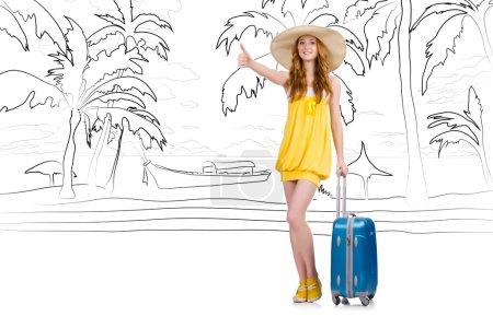 Photo pour Jeune femme voyageant île tropicale en concept de voyage - image libre de droit