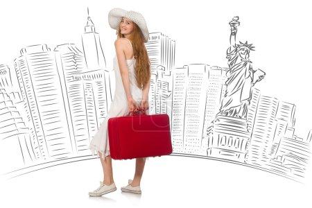 Photo pour Jeune femme voyageant aux États-Unis - image libre de droit