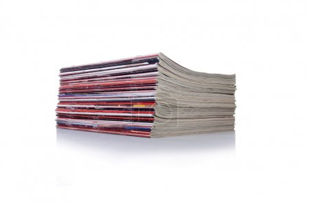 Stack of magazine isolated on the white background
