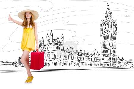 Photo pour Jeune femme voyageant à Londres au Royaume-Uni - image libre de droit
