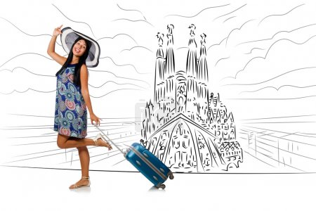 Photo for Young woman travelling to Spain to see Sagrada Familia - Royalty Free Image