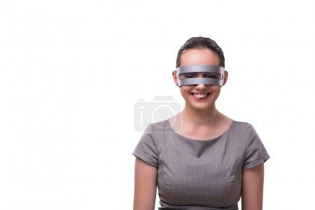 Techno cyber woman isolated on the white background