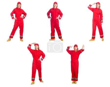 Foto de Mujer mono rojo aislado en blanco - Imagen libre de derechos