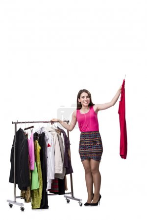Photo for Woman choosing clothing in shop isolated on white - Royalty Free Image
