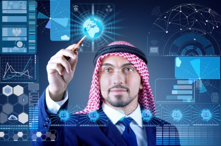 Arab man in data mining concept
