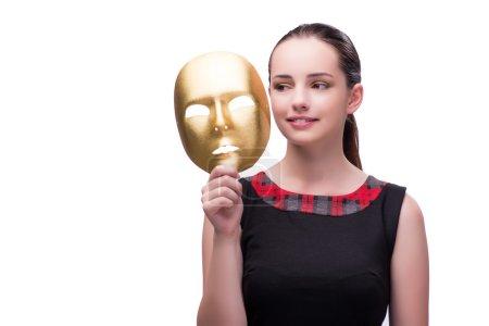 Photo pour Jeune femme avec masque isolé sur blanc - image libre de droit