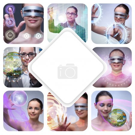Collage of techno girl photos