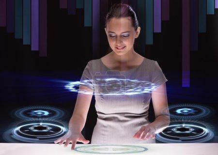 Woman dj in futurisctic concept