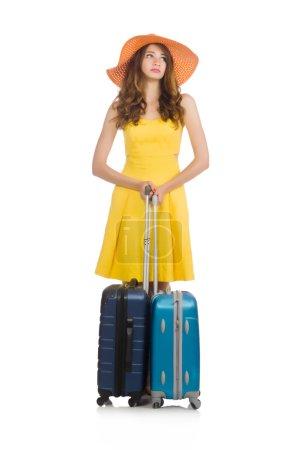 Foto de Viajar concepto de vacaciones con equipaje en blanco - Imagen libre de derechos