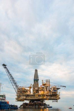 Oil rig platform in the calm sea