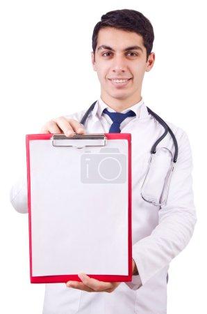 Photo pour Jeune médecin masculin isolé sur blanc - image libre de droit