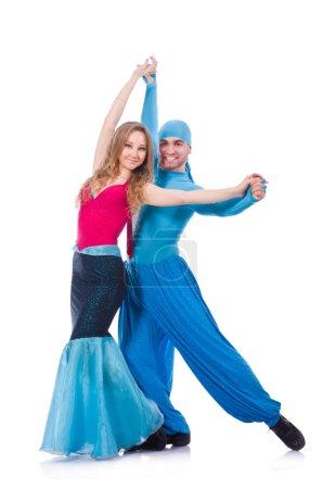 Photo pour Couple de danseurs danse danse moderne isolée sur blanc - image libre de droit