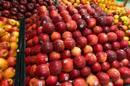 Photo for Apple stall in big supermarket - Royalty Free Image