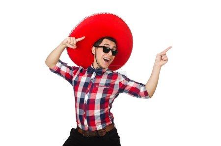 Photo pour Drôle mexicain avec sombrero dans le concept - image libre de droit