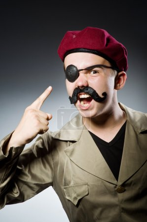 Photo for Funny soldier in military concept - Royalty Free Image