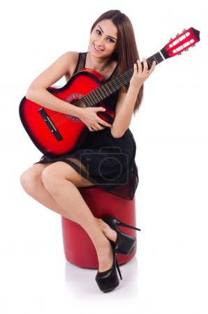 Woman guitar player isolated on the white