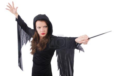 Photo pour Sorcière avec baguette magique isolé sur blanc - image libre de droit